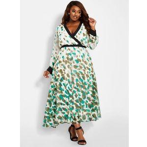 Confetti Camo Maxi Dress Size Ashley Stewart NWT